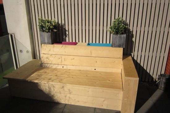 Steigerhouten Loungebank met opbergruimte